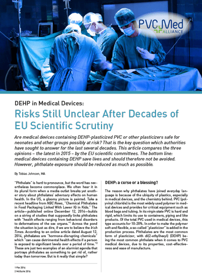 DEHP in Medical Devices: Risks Still Unclear After Decades of EU Scientific Scrutiny