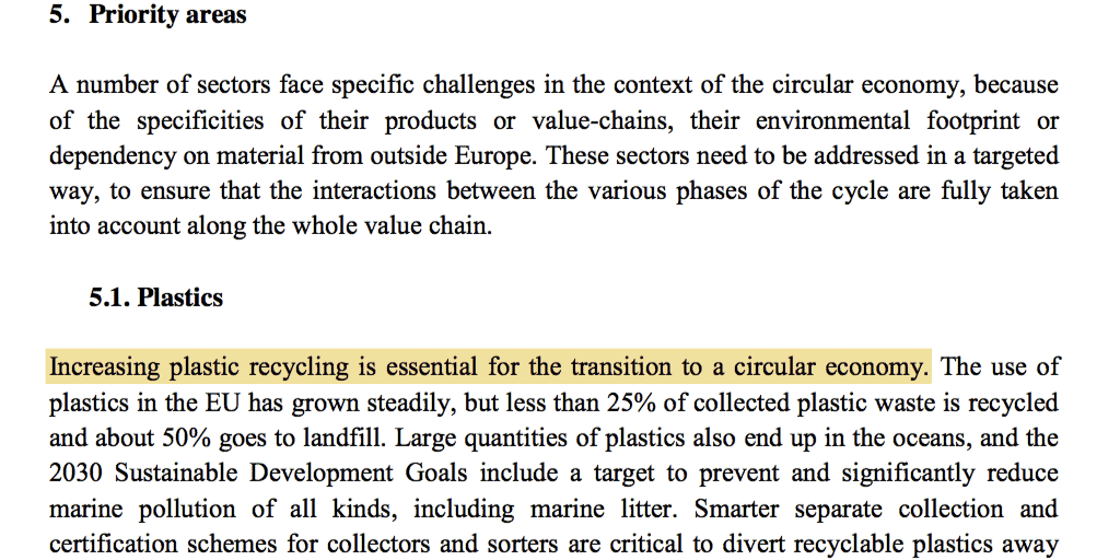 Plastics recycling in the Circular Economy Package Action Plan