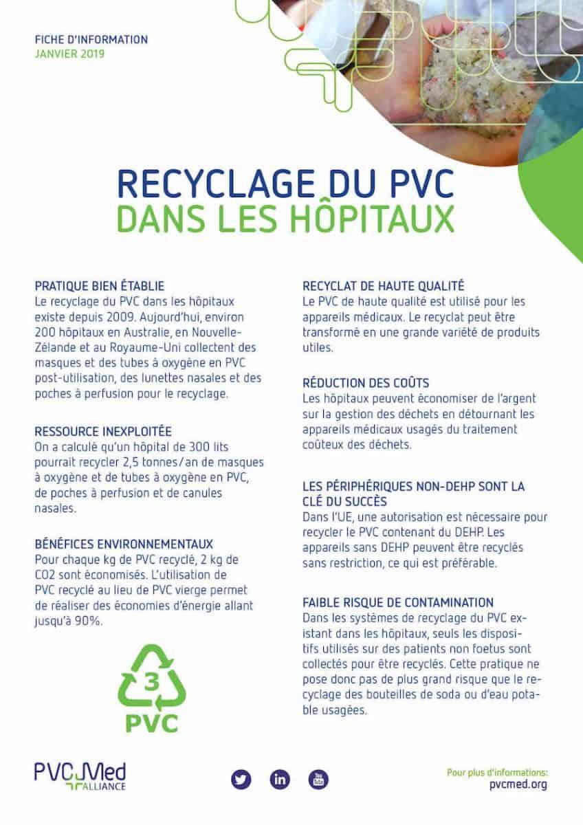 Recyclage du PVC dans les hôpitaux – fiche d'information